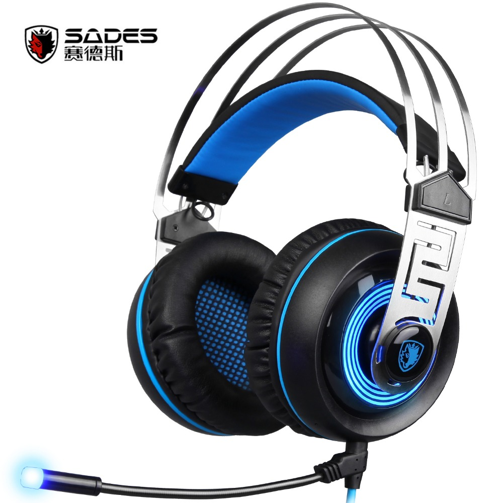 Sades A7 USB Gaming Headset with Mic Led for PC Laptop Gamer фото