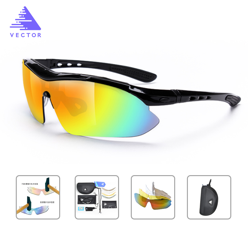 VECTOR ACC30018 Polarized Sports Sunglasses Men Women Road Cycling Glasses 5 Lens