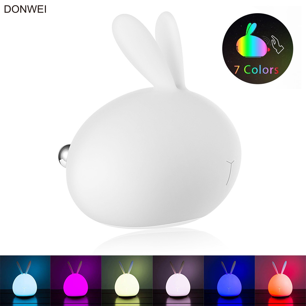 DONWEI Battery Colorful Silicone Night Light Cute Rabbit Night Table Decoration фото