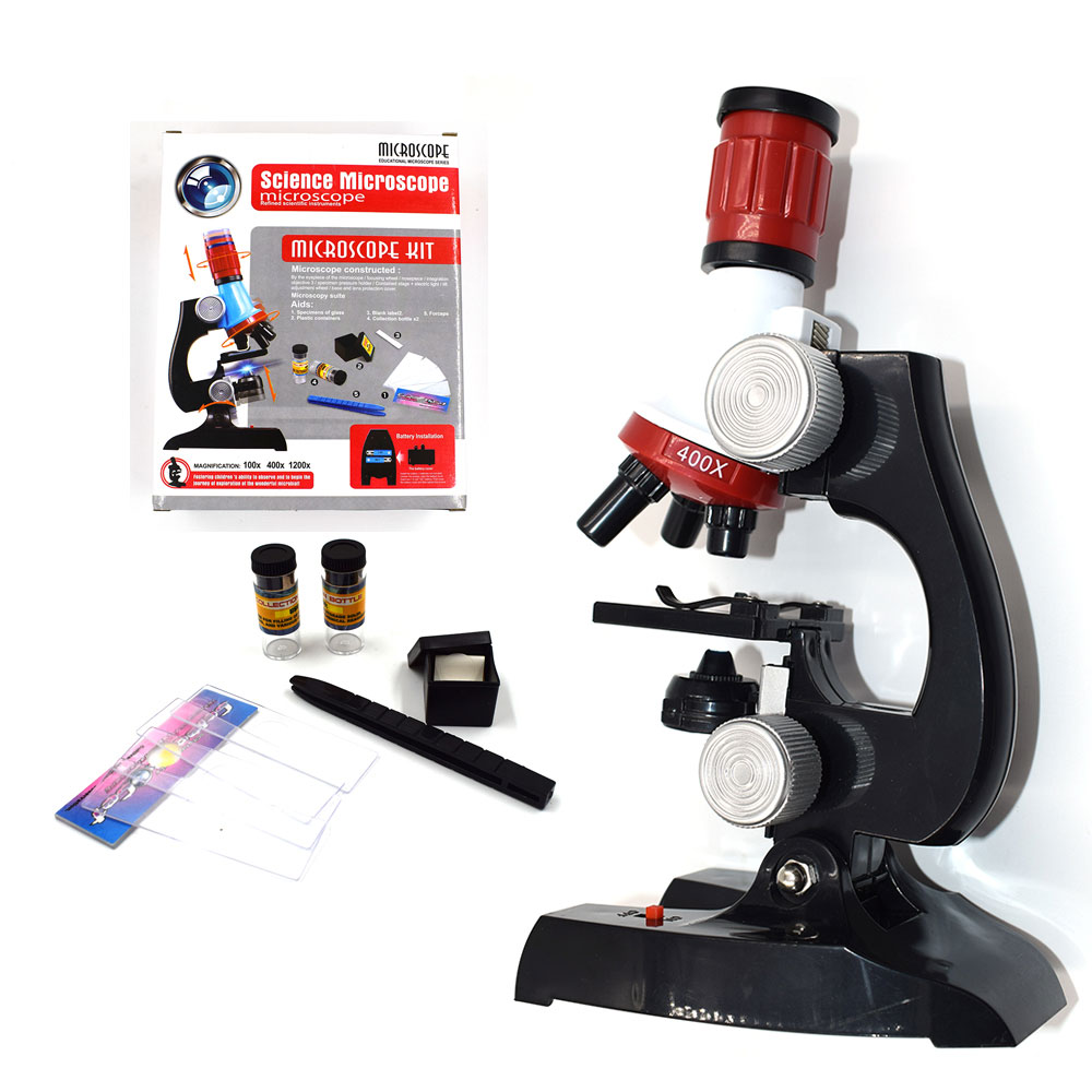 Science Biological Adjustable Beginner Microscope LED Kit Toy for Kids