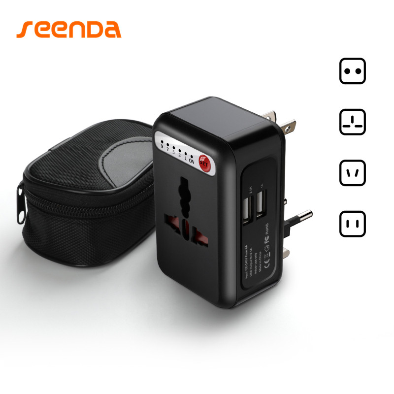 SeenDa Universal Travel Power Plug 2 USB Ports