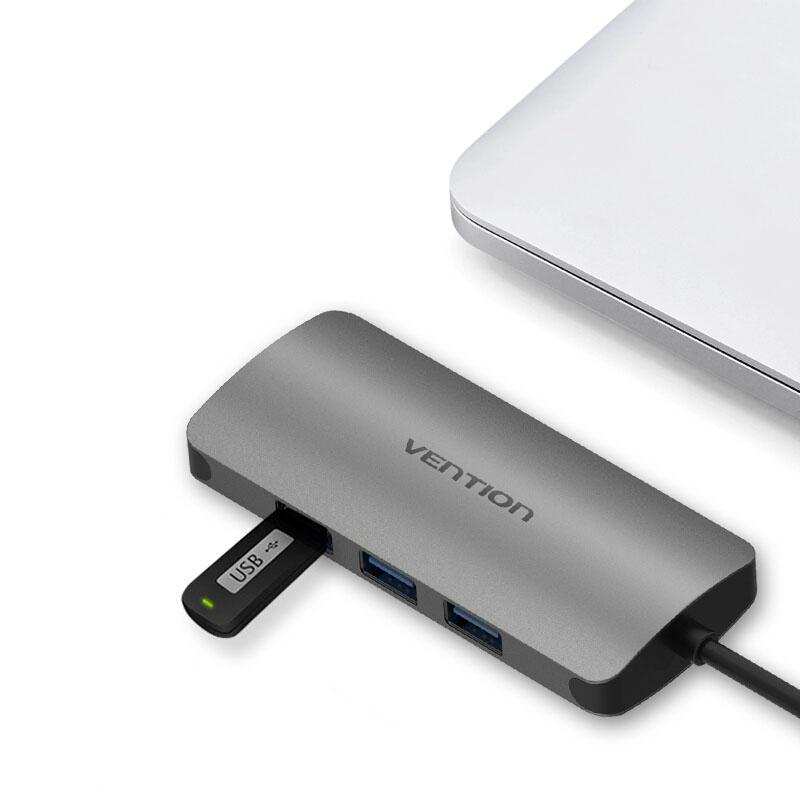 Vention CHD Gigabit Ethernet RJ45 Hub Aluminum Alloy USB 3.0 to 3-Port USB 3.0 1000Mbps фото