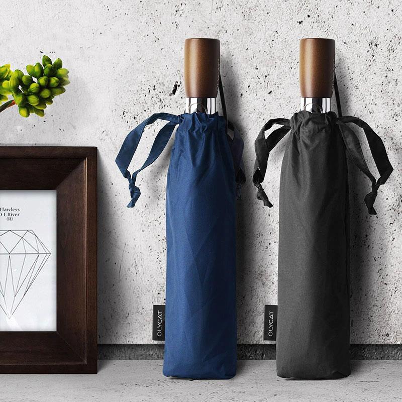 OLYCAT OC396 Big Automatic Umbrella Wood Handle Rain 10 Ribs Windproof Anti UV