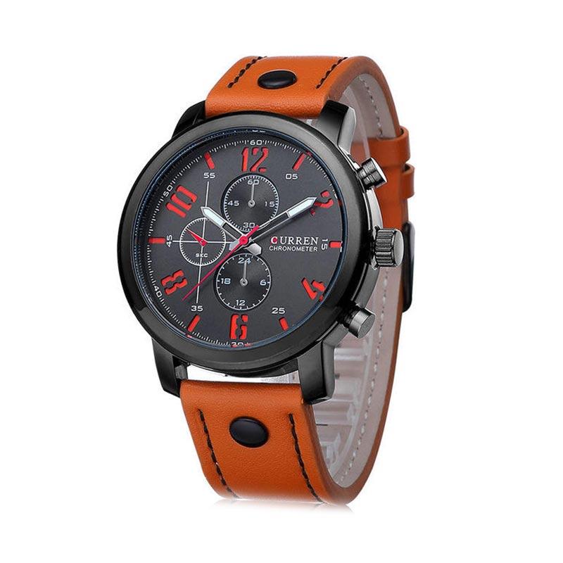 CURREN 8192 Fashion Leisure Quartz Wrist Watch Leather Black Alloy Analog фото