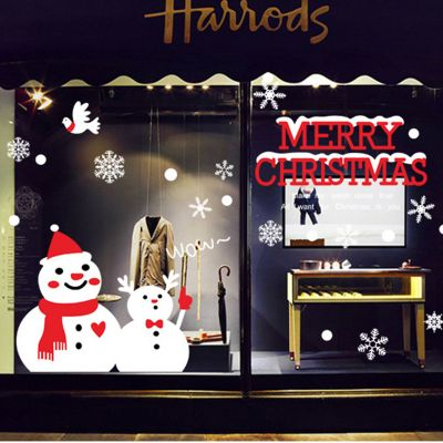 Christmas Snowman PVC Wall Stickers Window Glass Background Decoration