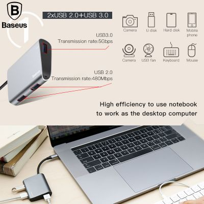 Baseus CATSX-A0G Type C to 2xUSB 2.0 + USB 3.0 HUB Adapter