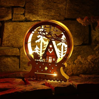 Christmas Ornaments LED Lamp Elk Cart Creative Lighting Wooden House Shop Window Decorations High-end Party Gifts