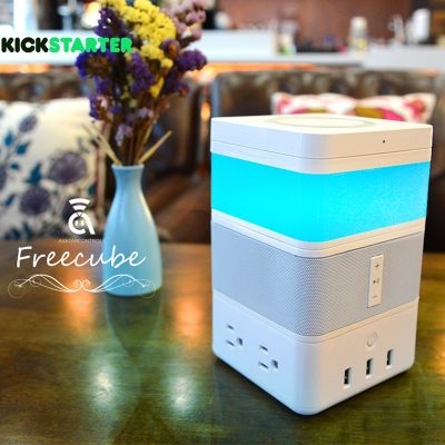 AvatarControls FreeCube 4 in 1 Wireless Charger Bluetooth Speaker LED Light USB Charger