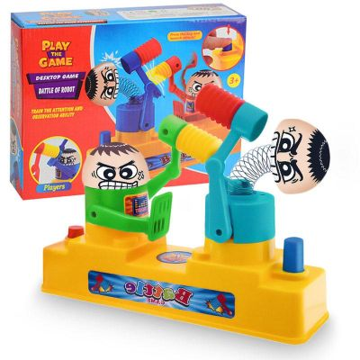 children double hammer hitting toys