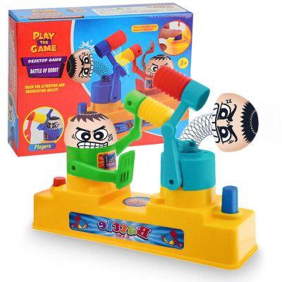 children double hammer hitting toys