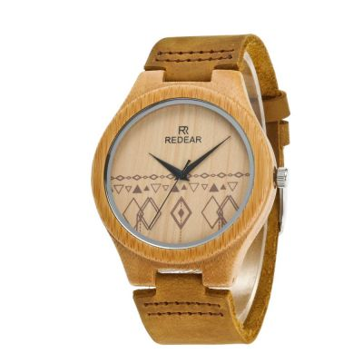 Redear SJ1448-2 Wooden Quartz Watch-Male Brown