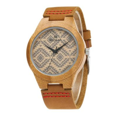 Redear SJ1448-6 Wooden Quartz Watch-Male Brown
