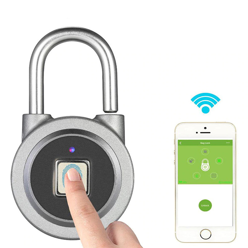 FB50 Smart Keyless Fingerprint Padlock APP Button Password Unlock Waterproof фото