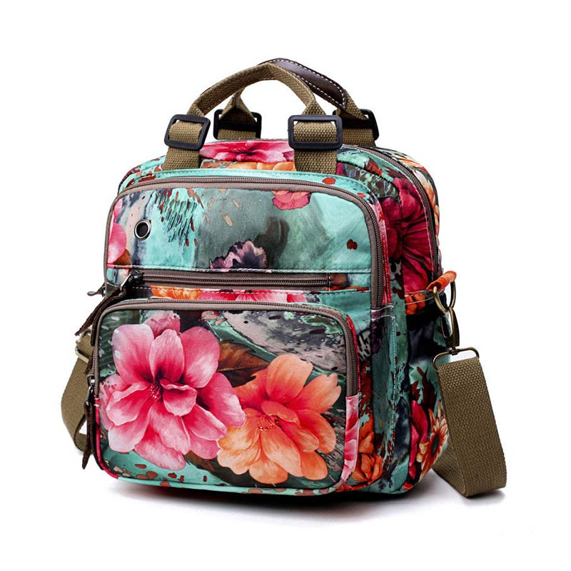 National Style Flower Pattern Backpack Outdoor Shoulder Bag