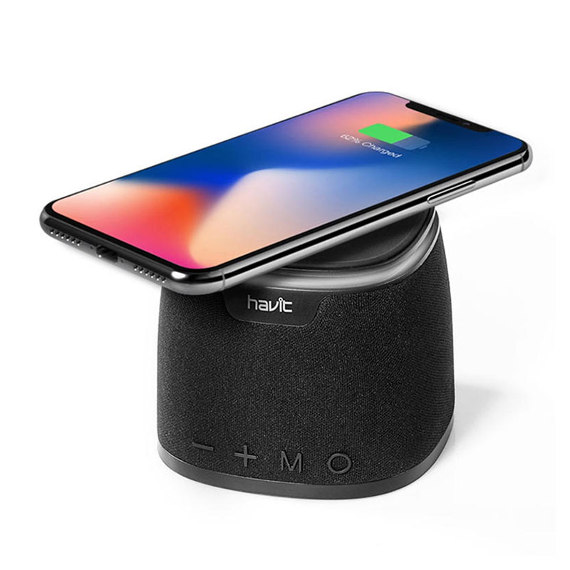 HAVIT M1 Bluetooth Speaker Qi Wireless Charger Mini Heavy Bass Stereo TF Card