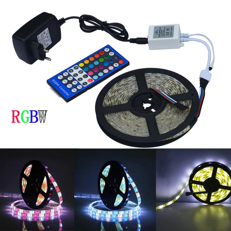 Jiawen 5m 5050 RGBW LED Light Strip + Remote Controller + 12V 2A Power Supply RGB + White Indoor for Decoration фото