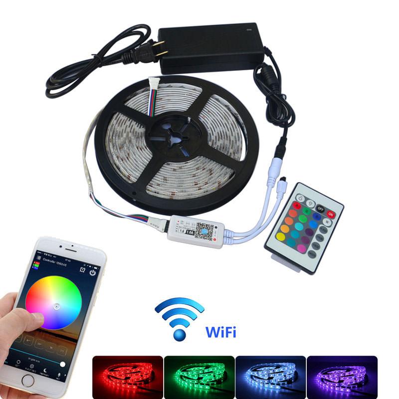 Jiawen 5M Waterproof IP65 Wi-Fi RGB LED Strip Light Kit