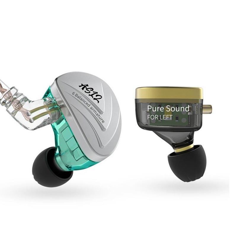 KZ AS12 HIFI Bass Earphones without Microphone 12BA Balanced Armature Drives