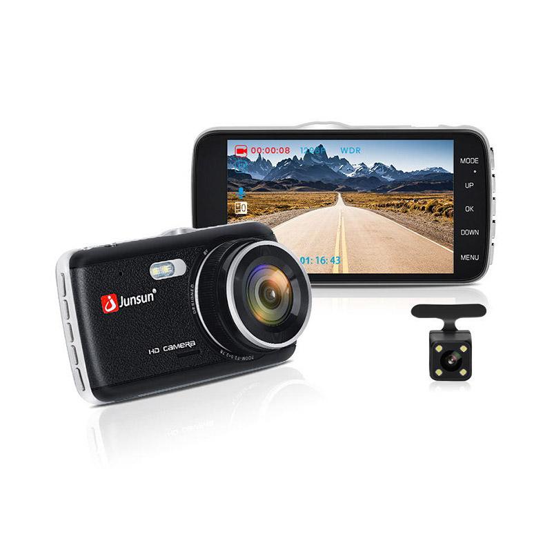 Junsun H7N Car DVR 1296P Dual Lens Camera Auto Recording with Waterproof Rear Camera фото