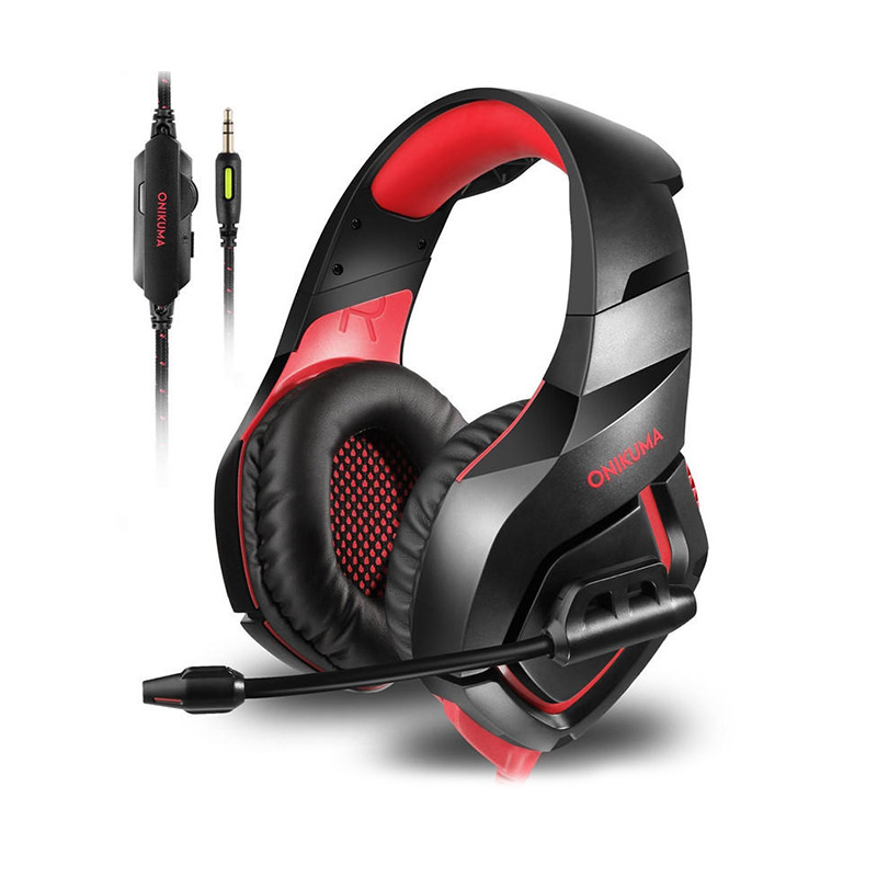ONIKUMA K1-B Single Plug Stereo Gaming Headsets In-line Control Hi-Fi Headphones With Mic for PS4 Xbox One фото