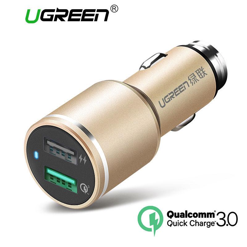 Ugreen CD130 QC3.0 Dual USB Fast Car Charger фото