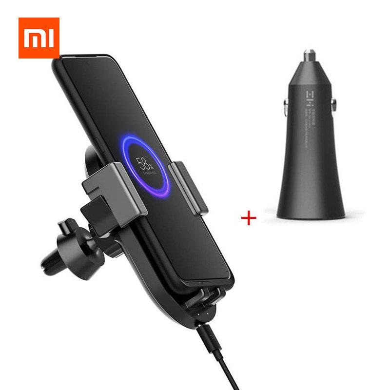 Xiaomi ZMI WCJ10 20W Qi Wireless Charger Phone Mount with 27W Dual USB Car Charger фото