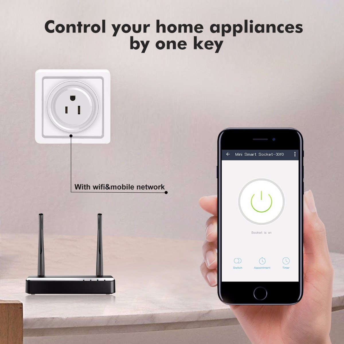 Wireless Smart Plug Outlet with Timing Function