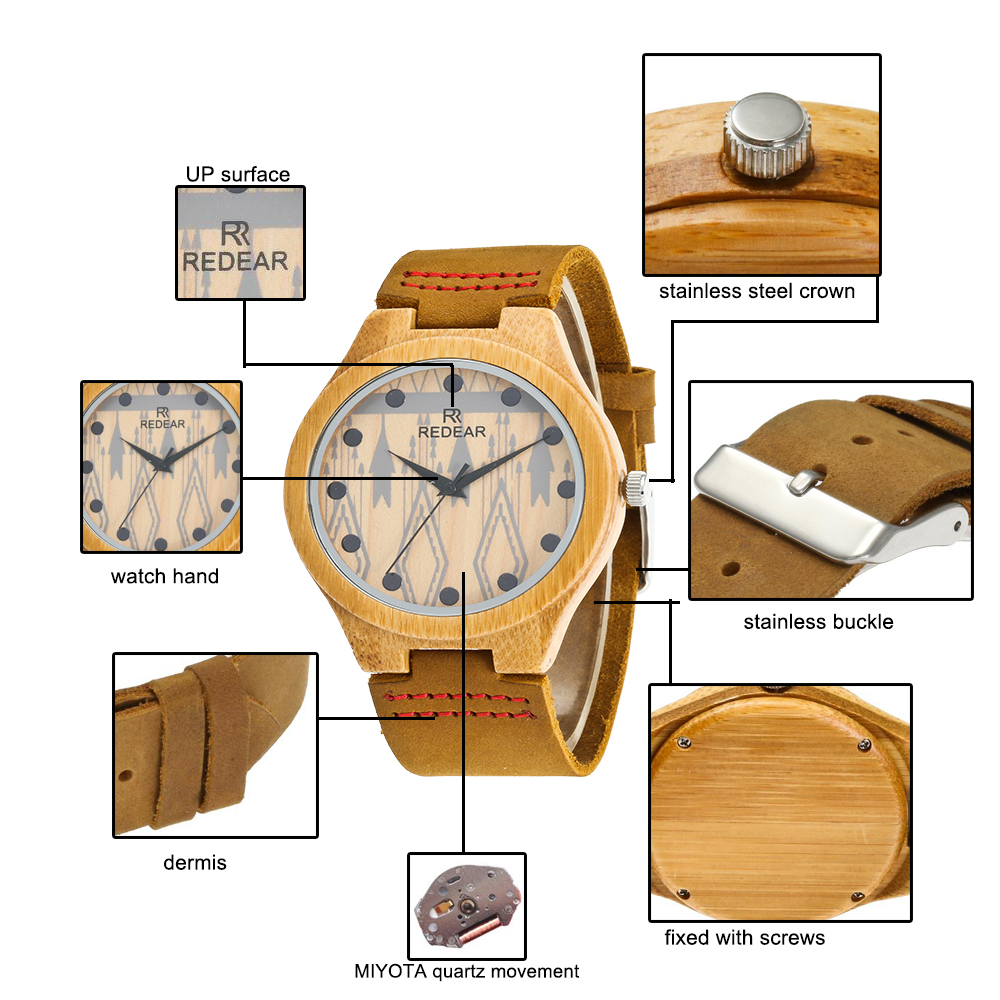 Redear SJ1448-5 Wooden Quartz Watch-Female Brown