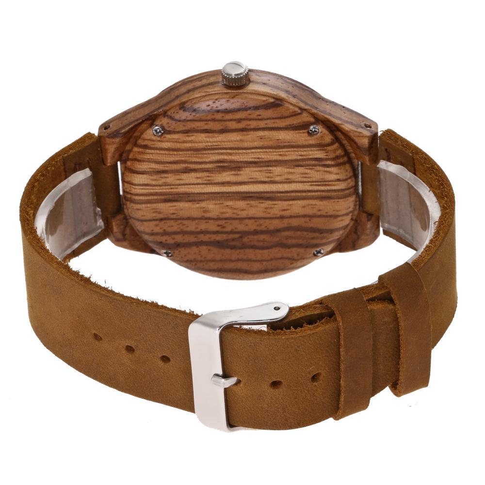 Redear SJ1448-4 Wooden Quartz Watch-Men Zebrawood