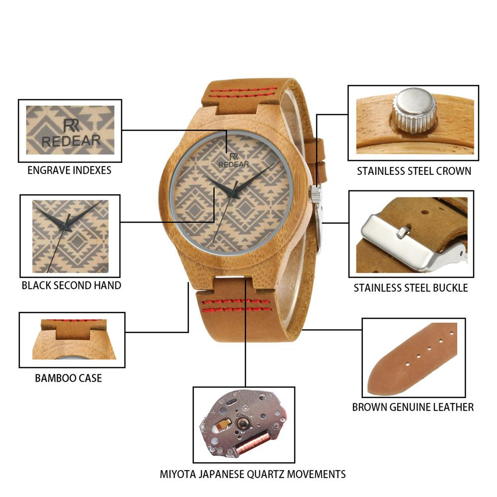 Redear SJ1448-6 Wooden Quartz Watch-Female Brown