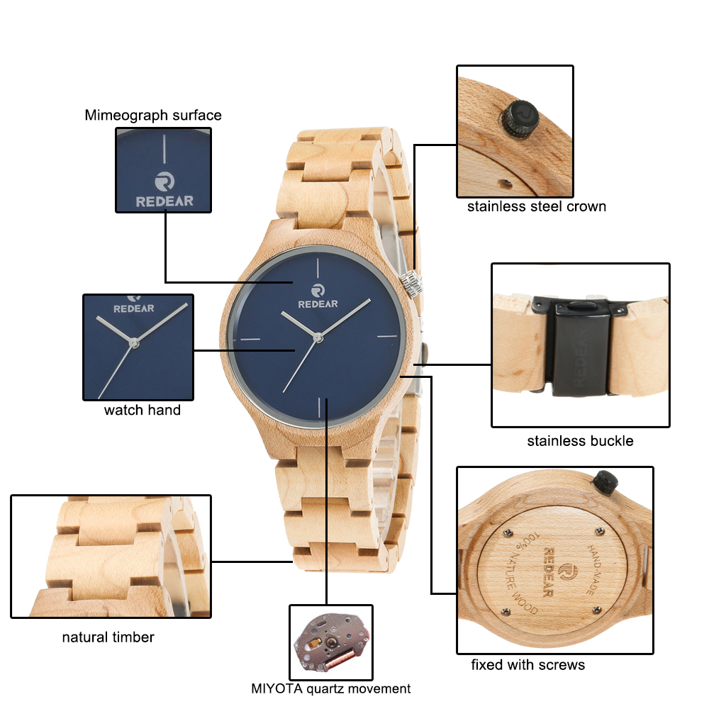 Redear SJ1603-2 Wooden Quartz Watch-Male
