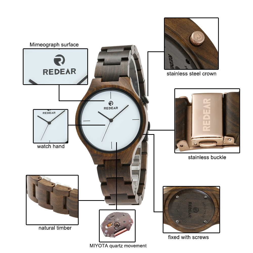 REDEAR SJ1603-3 Wooden Male Quartz Watch
