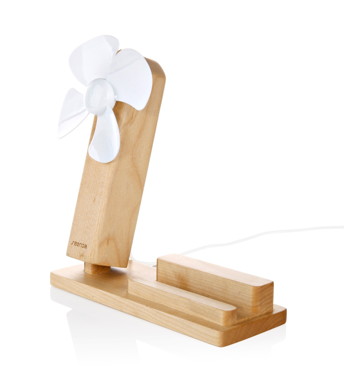 Seenda IPS-Z10 Wooden Phone Holder with Desktop Mini Fan