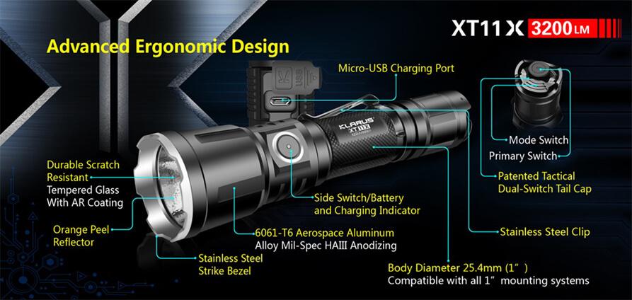 klarus xt11x tactical flashlight
