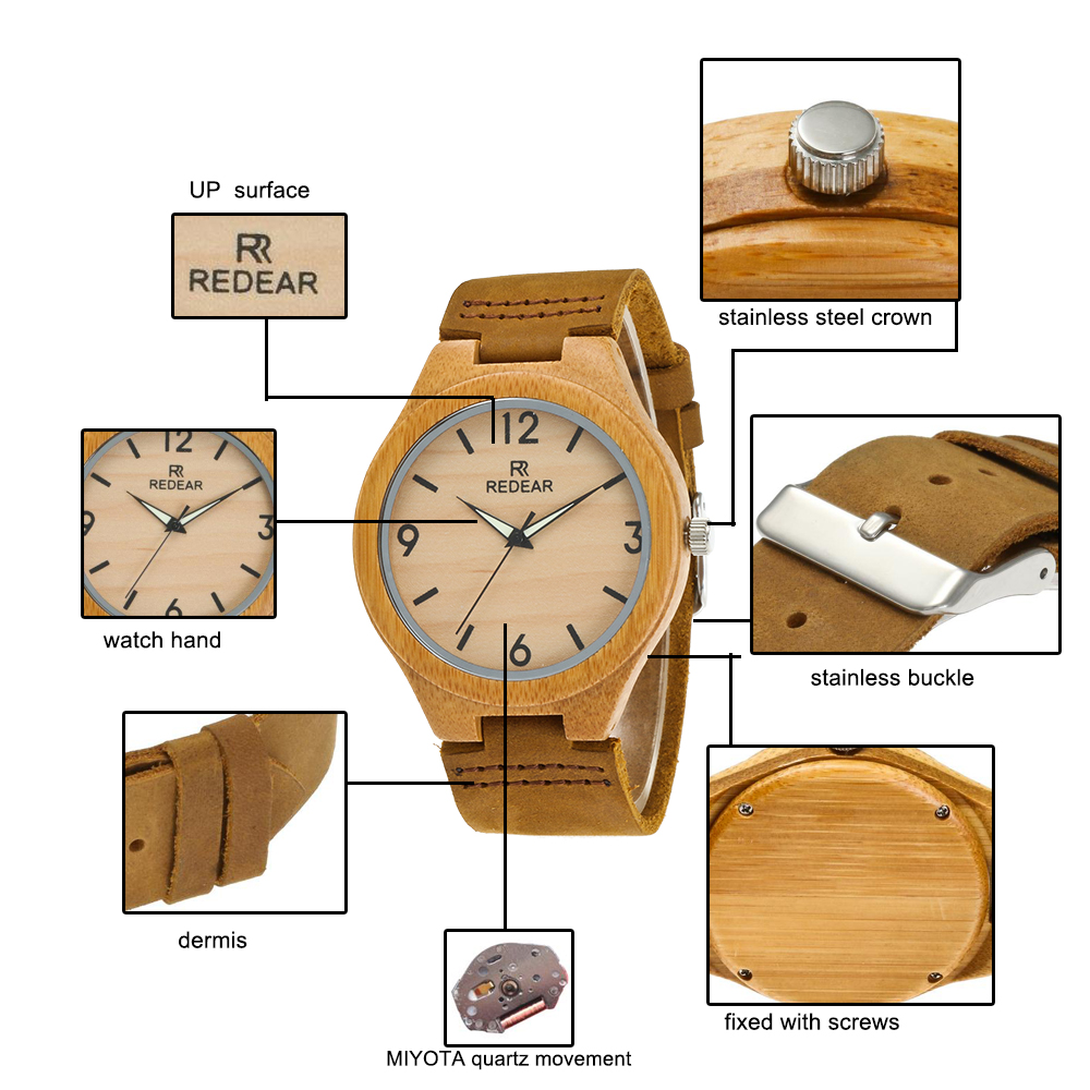Redear SJ1448-10 Wooden Quartz Watch-Male Brown