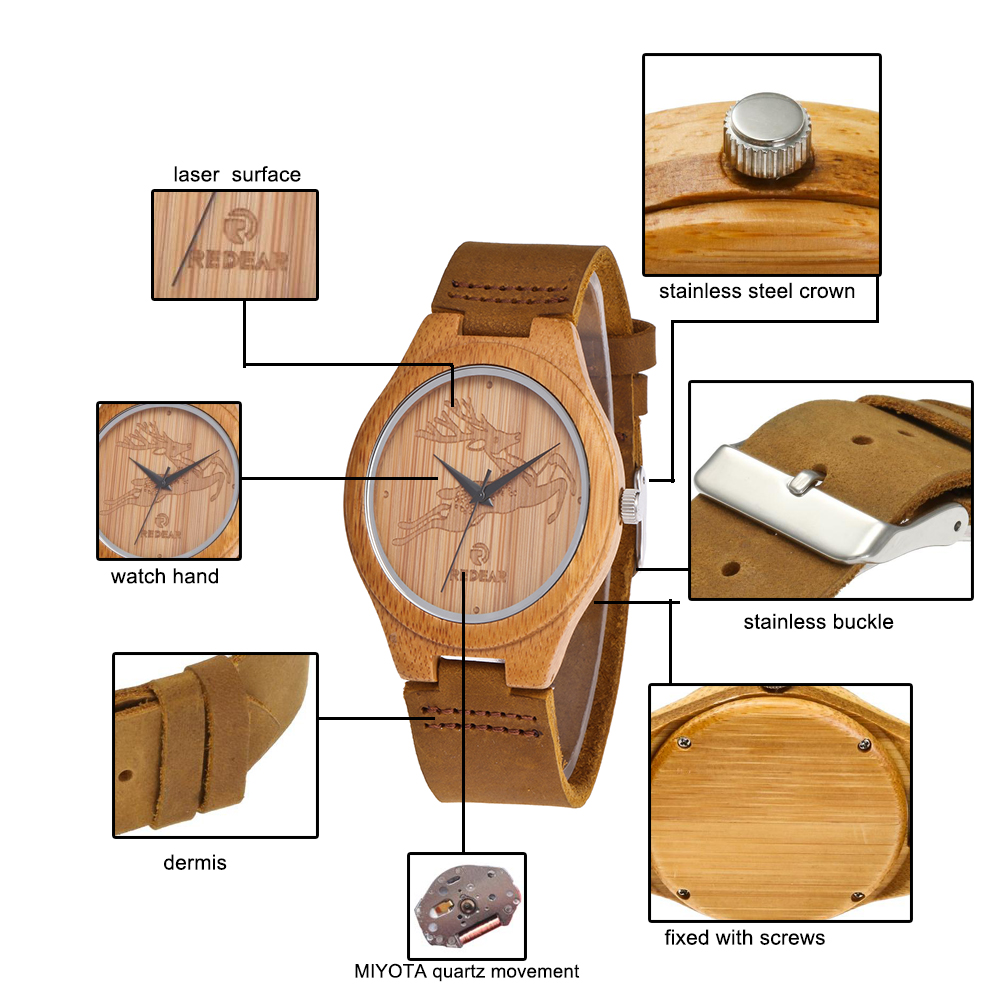 Redear SJ1448-11 Wooden Quartz Watch- Male Brown