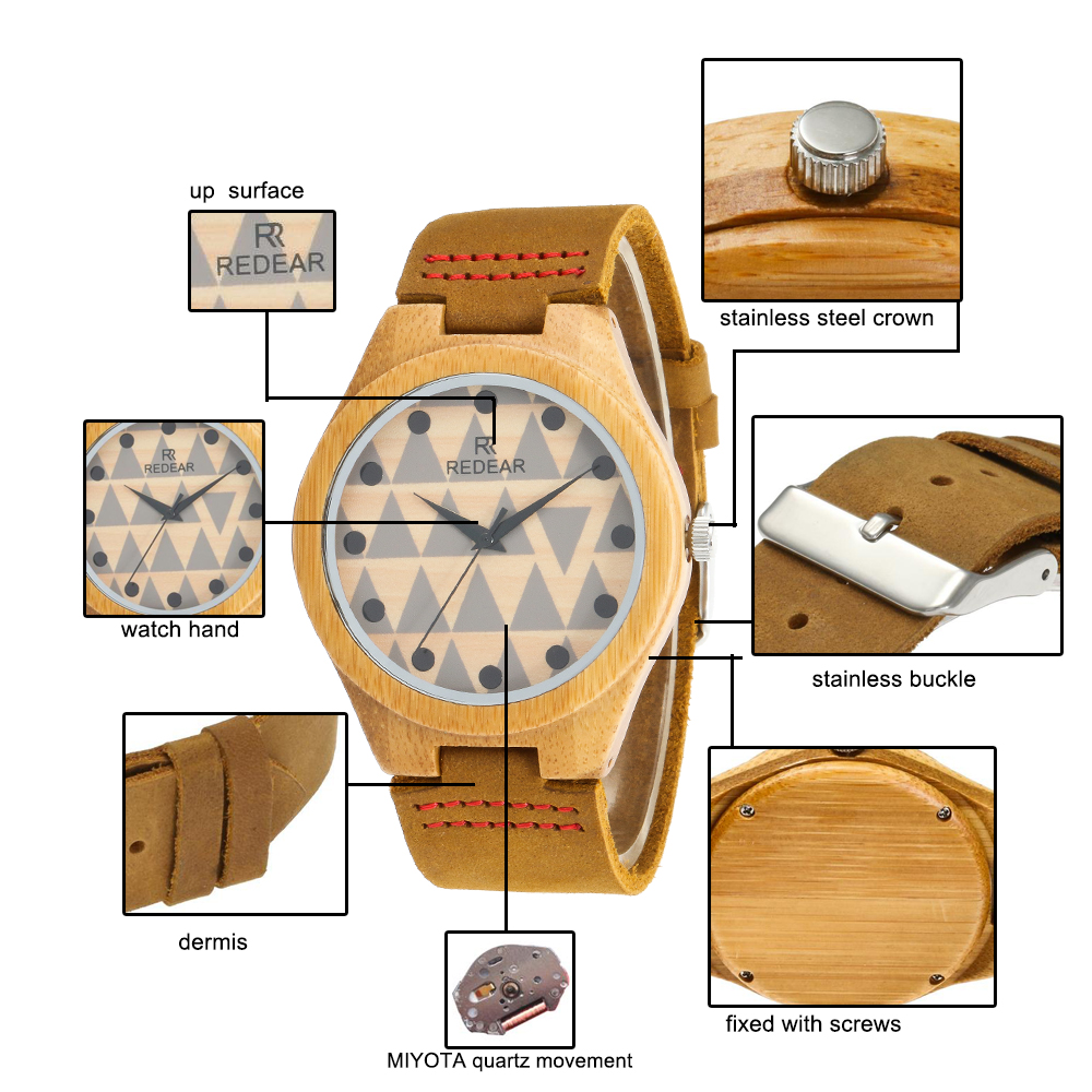 Redear SJ1448-7 Wooden Quartz Watch-Male Brown