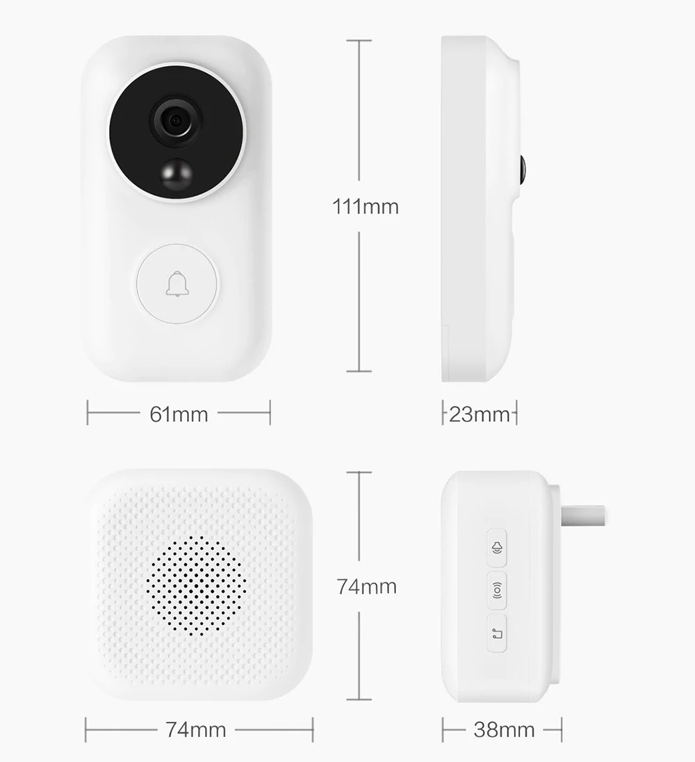 xiaomi night vision video doorbell set for sale