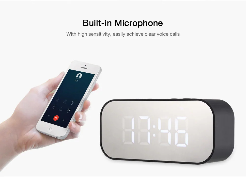 2019 aec bt-501 alarm clock bluetooth speaker