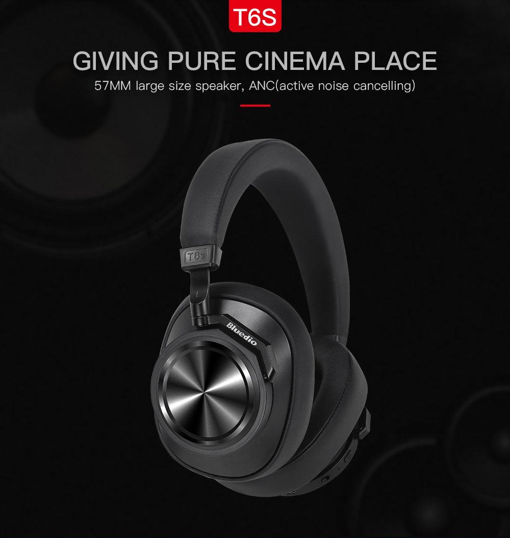 bluedio t6s anc wireless bluetooth headphone