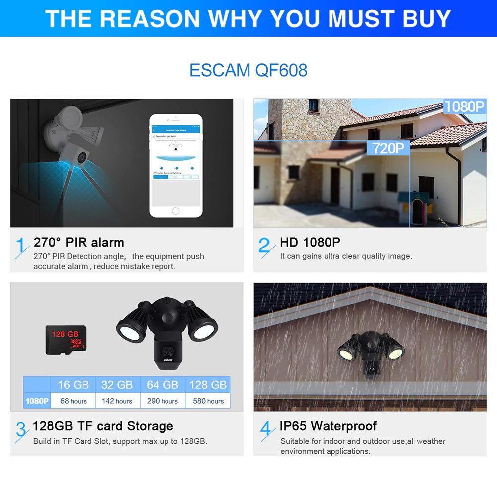 buy escam qf608 led floodlight wifi ip camera