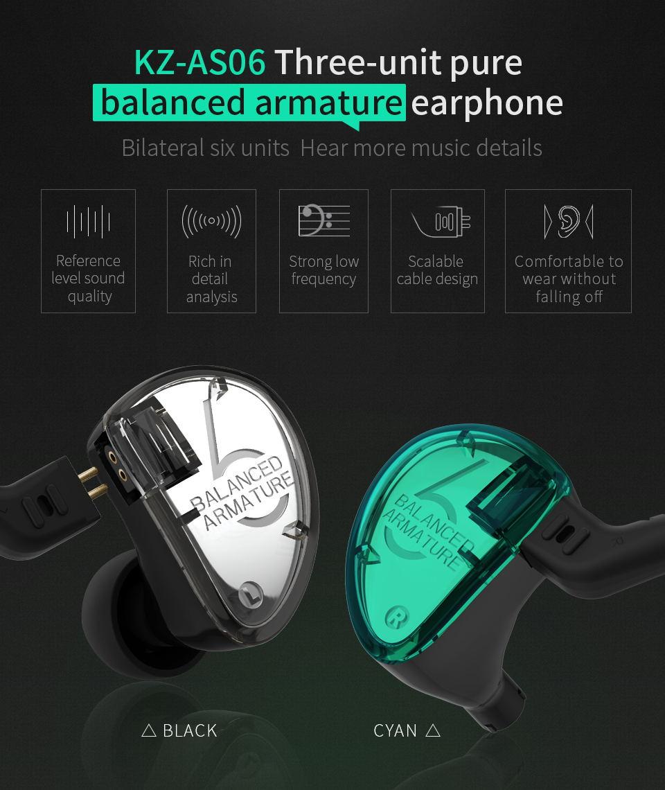 kz as06 in-ear stereo earphones