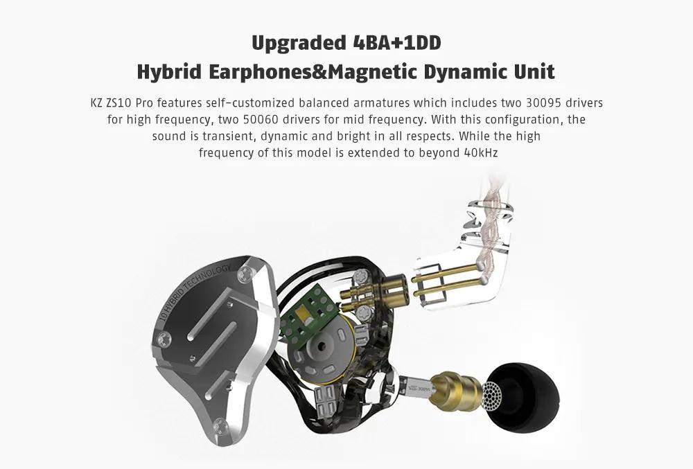 kz zs10 pro in-ear hifi metal earphones for sale