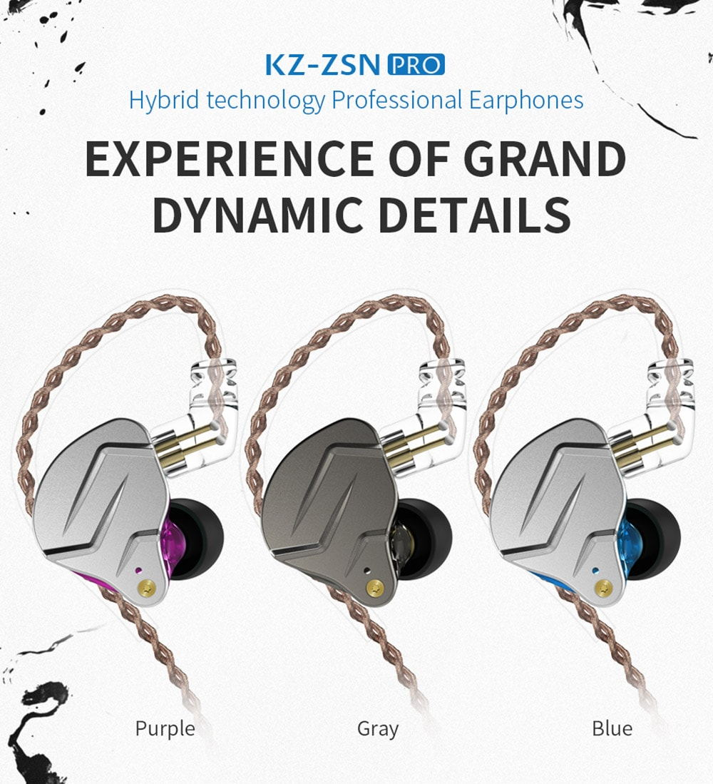 kz zsn pro wired earphones