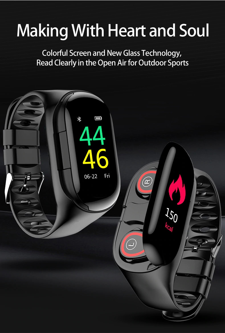 2019 lemfo m1 ai wristband bluetooth earphones