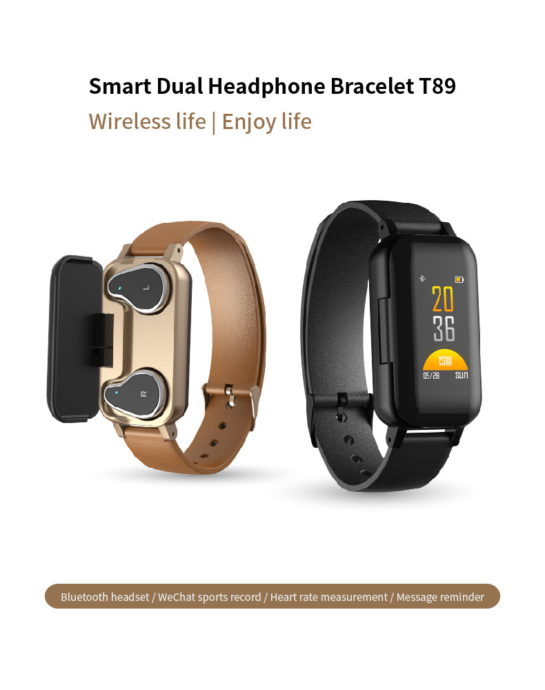 lemfo t89 headphone smart bracelet