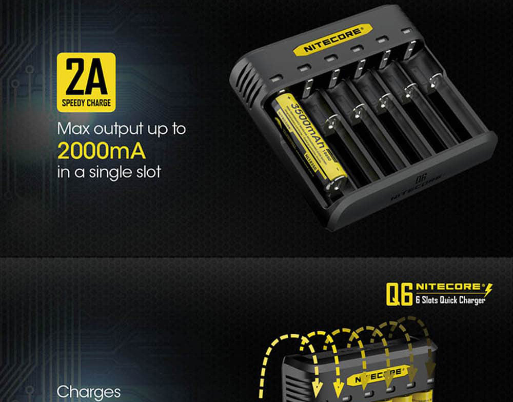 buy nitecore q6 6-slot battery charger