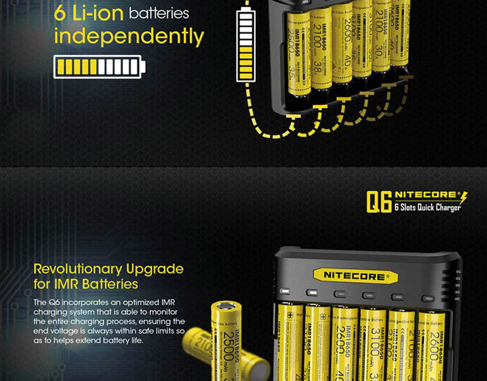 new nitecore q6 6-slot battery charger