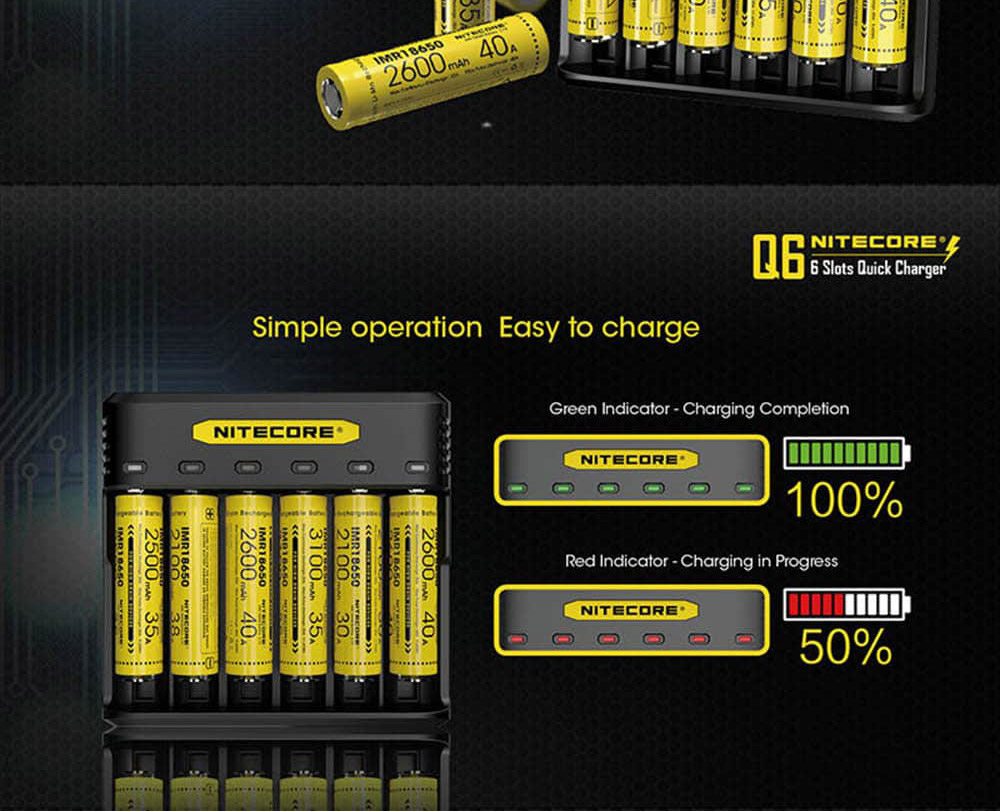 nitecore q6 6-slot battery charger for sale