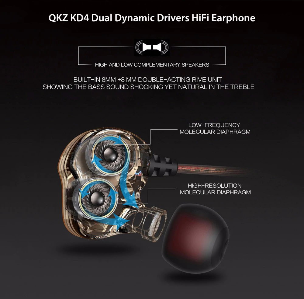 qkz kd4 wired hifi earphones